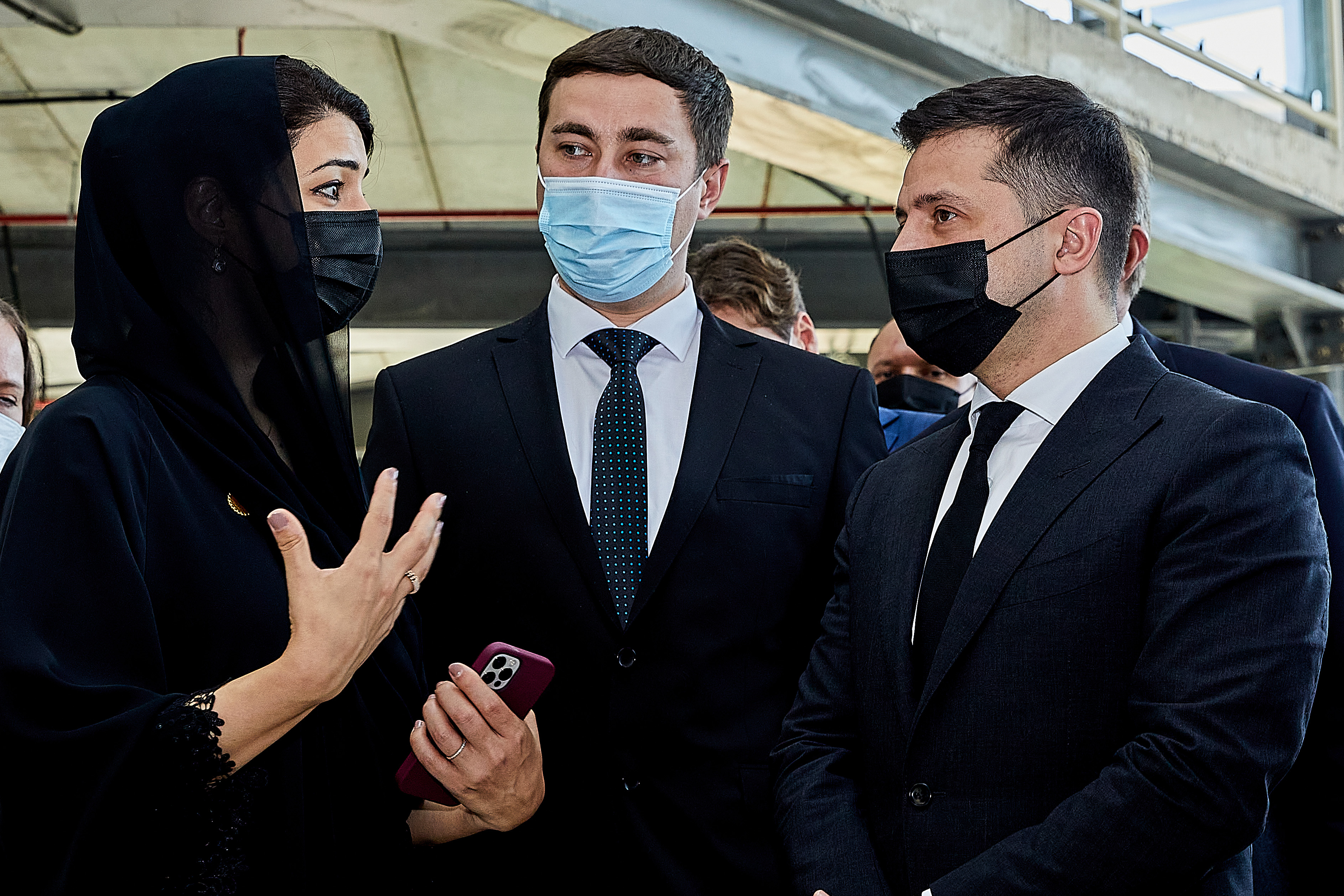 DUBAI, FEBRUARY 15 2021: Her Excellency Reem Al Hashimy UAE Minister of State for International Cooperation; Director General, Dubai Expo 2020 Bureau attends the visit to Terra - The Sustainability Pavilion with Volodymyr Zelensky President of Ukraine at Expo 2020 Site (Photo by Suneesh Sudhakaran/Expo 2020 Dubai)